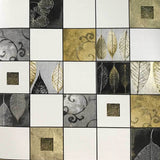5581-10 Wallpaper textured tiles modern wallcoverings rolls white black gold metallic 3D