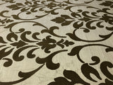165031 Gold Brown Flock Damask Wallpaper