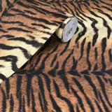255061 Wallpaper Tiger Line faux animal fur textured modern wall coverings Orange black