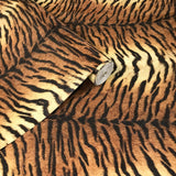 255061 Tiger Fur Striped Orange Brown Glitter Wallpaper