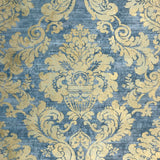 75902 Blue Gold Damask Metallic Wallpaper faux plaster textured
