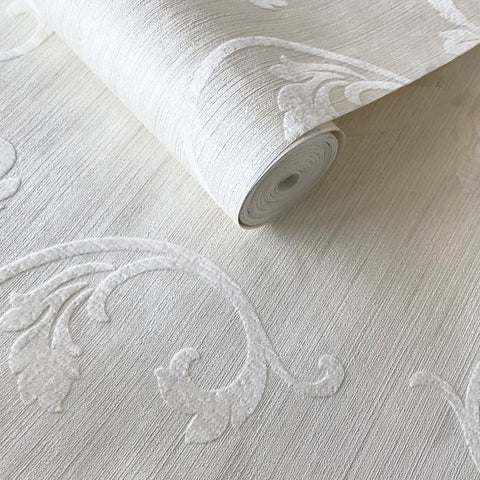 175011 Off White Ivory Flock Velvet Flocked Damask Wallpaper