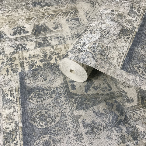 310030 Portofino Paisley Blue White faux Rustic carpet Wallpaper