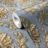 V317-03 Blue Gold Bronze Damask Victorian Wallpaper
