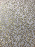 8536-10 White Gold Metallic Floral Wallpaper