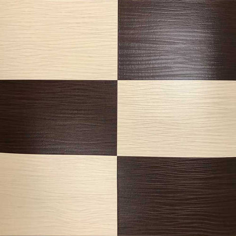 5549-02 Faux Leather Tile Brown Cream Plaid Wallpaper