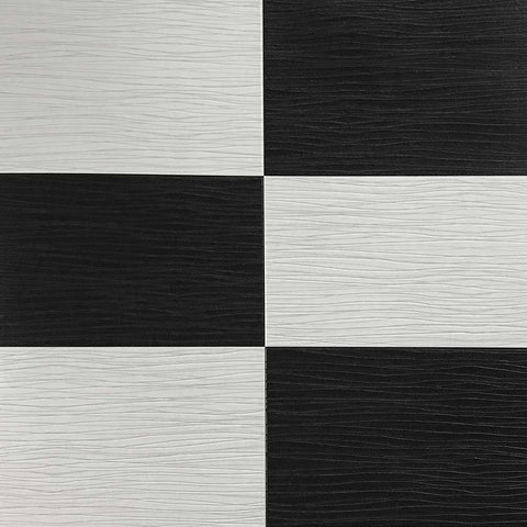 5549-10 Black off White Faux Leather Tile Plaid Wallpaper