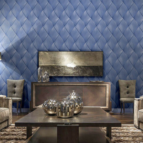M16020 Zambaiti royal indigo blue silver metallic textured diamond 3D lines Wallpaper