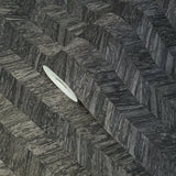 M23056 Herringbone charcoal gray black faux wood textured Wallpaper