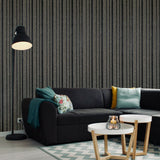 ST306 Striped Mica Vermiculite Charcoal Grey Black lines Wallpaper