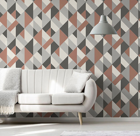 DELANO COPPER STRUCTURED GEO WALLPAPER