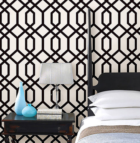 TRELLIS BLACK White MONTAUK Contemporary Modern WALLPAPER