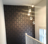 WM4199801 Wallpaper Charcoal Rose Gold Geometric Trellis Metallic - wallcoveringsmart