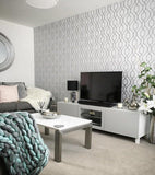 WM4199501 Wallpaper White Gray Silver Geometric Trellis Metallic 3D