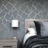 WM4228301 Wallpaper Gray Charcoal Black Metallic Textured Geometric Triangle Glitter - wallcoveringsmart