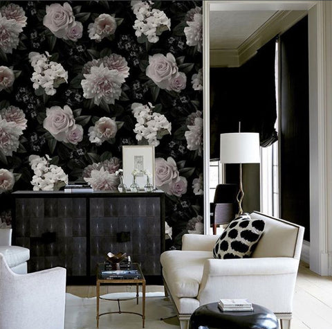 Moonlit Floral Rose Pink Black Wall Mural