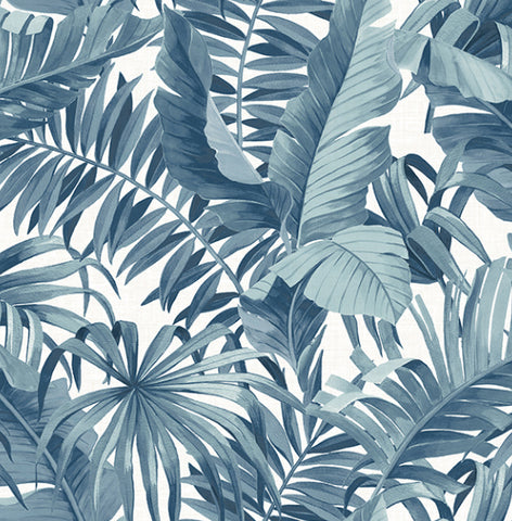 Navy Palm Banana Leaf Tropical Wallpaper