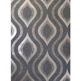 WM4198201 Textured ogee Gray Gold Metallic geometric 3D Wallpaper