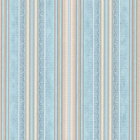 5531-03 Blue Beige Striped Wallpaper