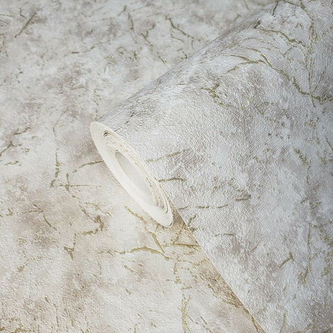 V509-06 Textured Beige Tan metallic cracked plaster Wallpaper