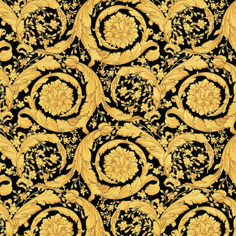 93583-4  Versace Gold Black Barocco Flowers Mimas Wallpaper roll