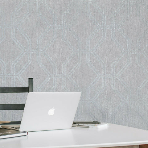 WM27527701 Geometric Textured trellis lines gray silver Wallpaper