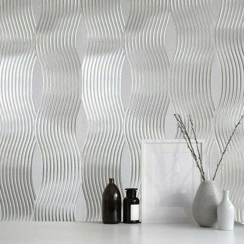 WM29450101 Silver Foil Metallic textured wavy lines waves Wallpaper