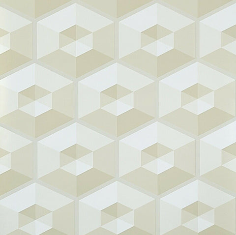 WM3050601 3D illusion tan beige off white geometric hexagon Wallpaper
