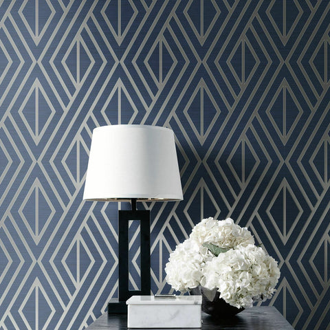 WM3052201 Geometric diamonds trellis Navy Blue silver lines Wallpaper