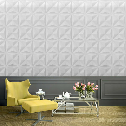 WM3091001 Gray off white geometric square triangles 3D illusion Wallpaper