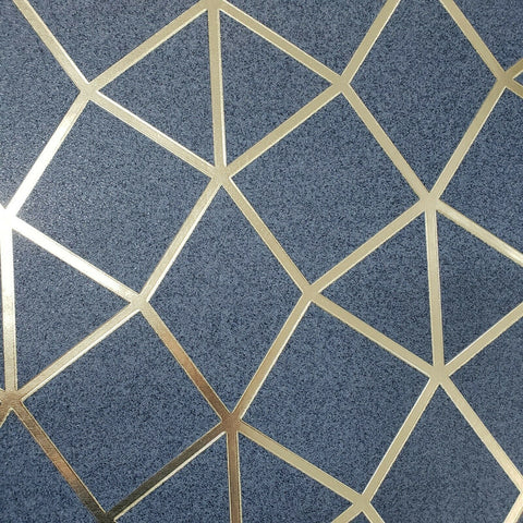 WM4256001 Geometric trellis triangles lines navy blue gold Wallpaper