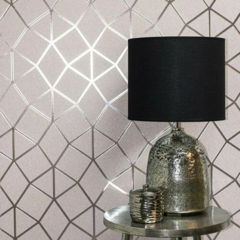 WM4256101 Geometric trellis pink gold metallic Wallpaper