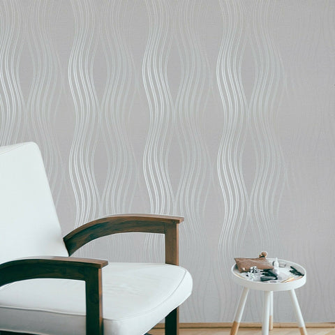 WM4256701 Geometric wave lines gray off white silver Wallpaper