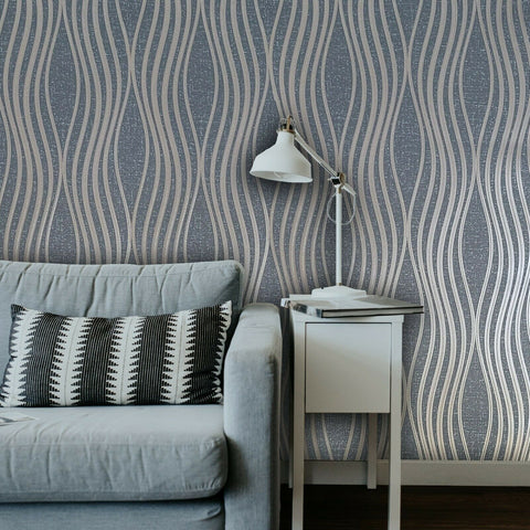 WM4256801 Geometric wave lines gray bronze metallic Textured Wallpaper