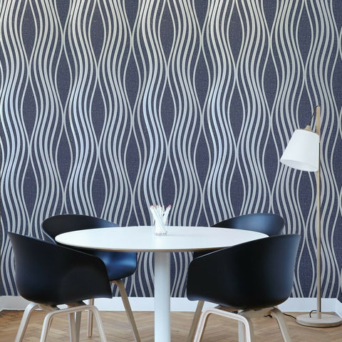 WM4268601 Geometric wave lines navy blue silver Textured Wallpaper