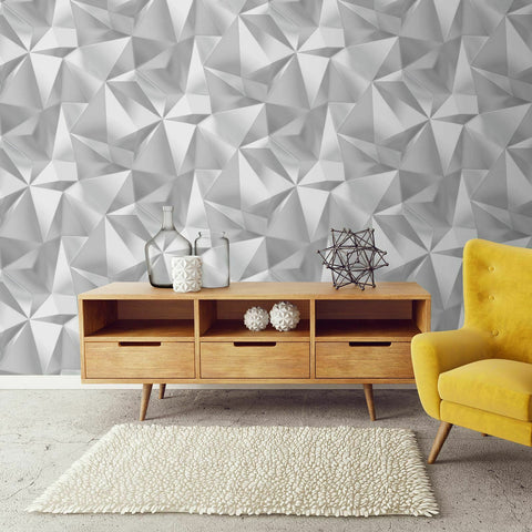 WM502001 Modern 3D illusion gray geometric triangle Wallpaper