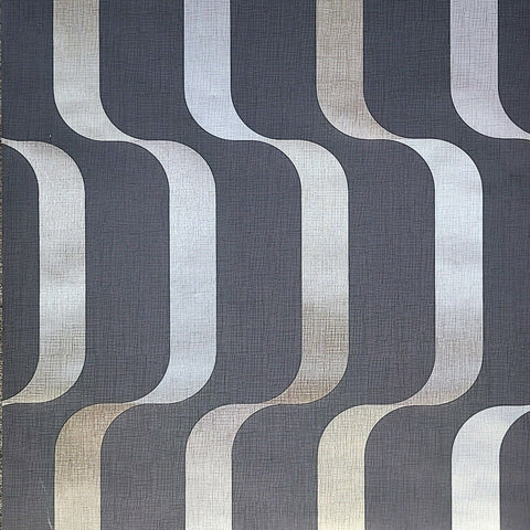 WM622100301 Wavy lines 3D Wave charcoal gray Gold Wallpaper