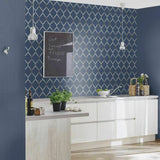 WM70164701 Geometric Fretwork Navy Blue beige metallic ombre Wallpaper