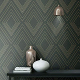 WM70304201 Diamond Geometric charcoal gray rose Wallpaper