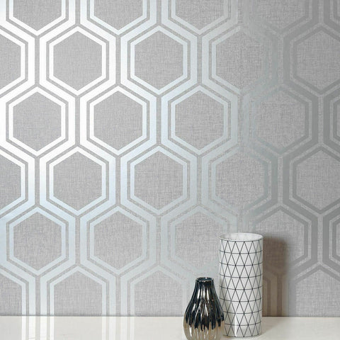 WM91020601 Geometric ash gray silver metallic hexagon Wallpaper