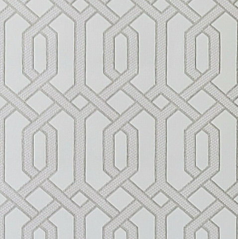 WMBA22001101 White silver gold geometric faux fabric trellis Wallpaper