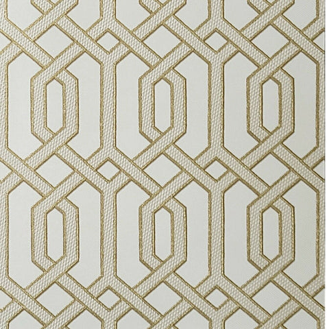 WMBA22001201 Ivory yellow Gold geometric faux fabric trellis Wallpaper