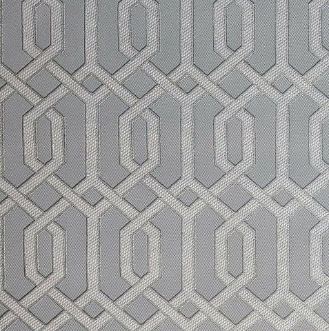 WMBA22001501 Gray gold metallic geometric faux fabric Wallpaper