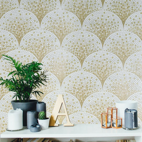 WMBA22004201 Tan White Gold Metallic faux Scale mosaic tiles Wallpaper