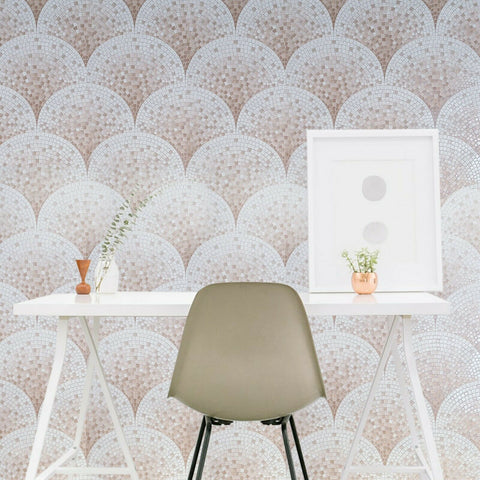 WMBA22004301 Peach Pink Cream White faux Scale mosaic tiles Wallpaper