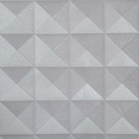WMBA22006101 Gray silver metallic geometric 3D illusion Wallpaper