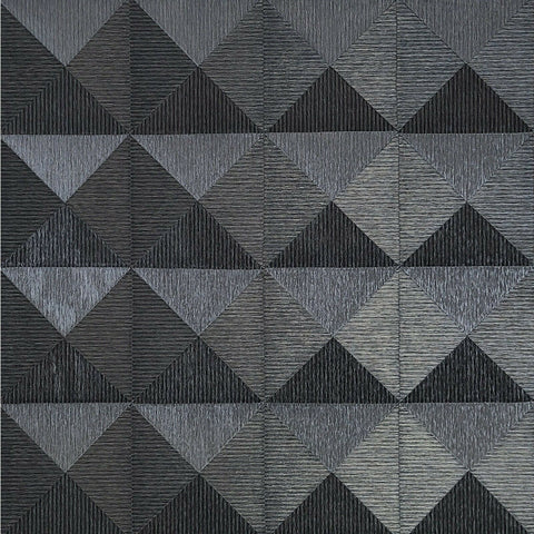 WMBA22006501 Black gray silver geometric textured 3D illusion Wallpaper