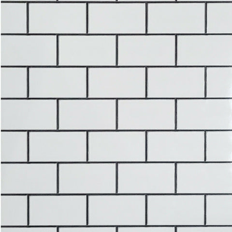 WMBA22010101 Black & white gloss faux subway tile textured 3D Wallpaper