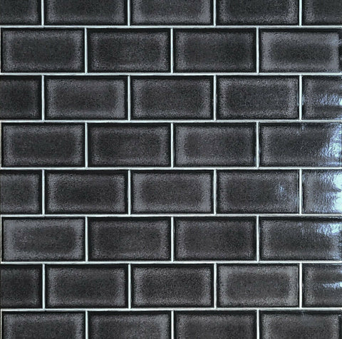 WMBA22010801 Charcoal black & white gloss faux subway tile Wallpaper