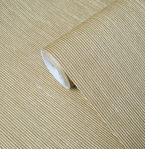 WMBL1006501 Ginger Bronze Gold plain textured stria lines Wallpaper
